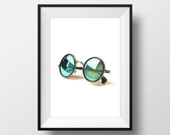 Colored Pencil Drawing, FINE ART PRINT, Retro Glasses, handmade