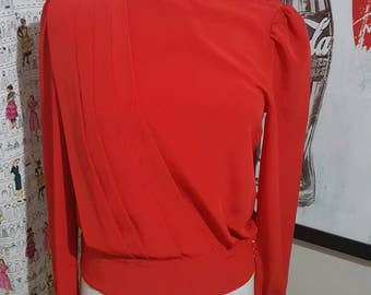 Vintage Burnt Orange Pleated Blouse Size M
