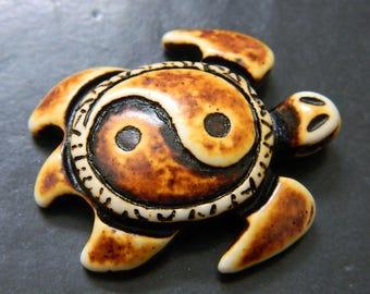 Sea Turtle Amulet - Yak Bone Resin Focal - Turtle Pendant - Bone Pendant - Tribal Pendant - Strength Focal
