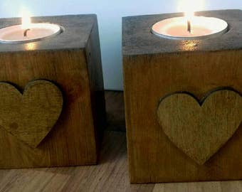 Set of 2 rustic tealight holders, wooden candle holders, Rustic home decor, new home gift, wooden home gift, Rustic heart candle holders