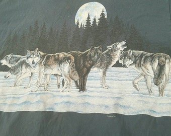 Vintage 1991 Wolf Tee by Habitat | Size XL | Made in U.S.A | TUFF
