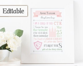 Baptism Subway Art, Editable PDF, Girl Baptism, Poster baptism, Printable baptism, Gift Idea for Girls, Primary Gift
