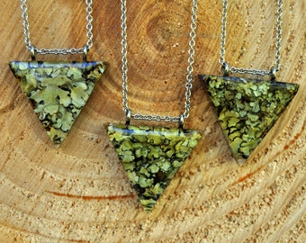 Lichen Jewelry, Wearable Nature, Forest Pendant Gift for Her, Statement Necklace, Geometric Necklace, Terrarium Jewelry, Eco Resin Jewellery