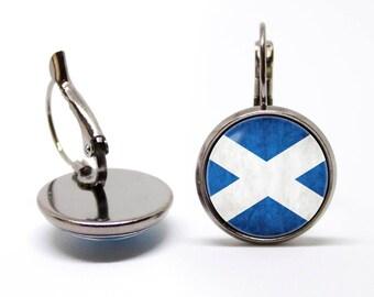 Flag of Scotland earrings Scottish flag earrings St Andrews cross Scottish sign Scottish jewelry Patriotic earrings Flag jewellery National