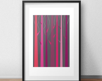 thorns: instant download, printable artwork, wall art, home decor, vector poster, gift idea, digital download, digital art, pink, gray