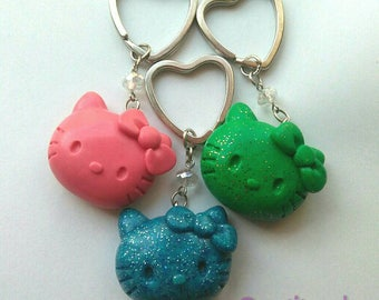 Hello Kitty face key chain blue pink green shine charms kawaii key ring gift group heart