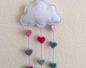 Felt Cloud Mobile - Needle Felted Hearts