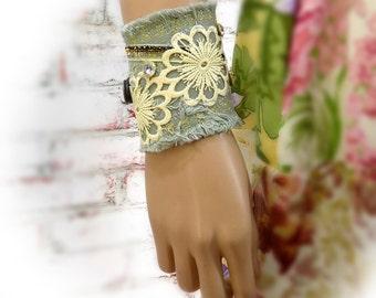 Tattered textile cuff - Textile bracelet -fiber art cuff -  Fabric bracelet  - Boho cuff - fabric cuff - trendy jewelry - # 144