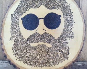 Hand Wood Burned Jerry Garcia Sign