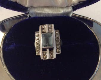 Antique sterling silver Art Deco  marcasite ring size 5 1/4 vintage #1089