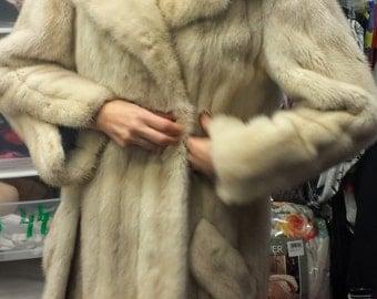 30% OFF Real Mink Jacket M/L/ 90's Fur Jacket/ Pale Ivory Mink Jacket/Luxurios Blond Mink Coat, Blond Mink Jacket, Item Nr. 080
