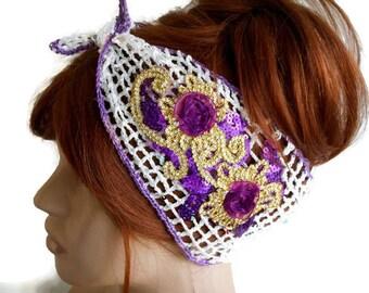 Turban Headband, Crochet Headband, Glow Headband, Gypsy Headband, Hair Accessory, Knitted Hairband, Summer Headband, Lace Headband