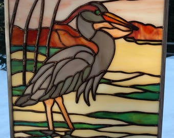 Stained Glass Picture, Heron At Sunset.  Handmade, copper foil with black patina