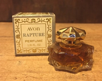 Unused, Vintage Avon, Rapture Perfume. 1/8 fl.oz., Vintage Avon, Womens Perfume, Collectible Glass, Rapture, Avon, Glass perfume bottle.