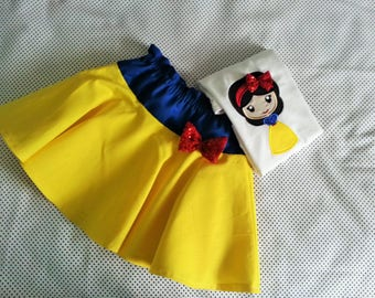 Sample Sale ! Snow White fairy tales Inspiered Shirt and Skirt Set Birthday Girl  top, T shirt Cute skirt, 3/4 age