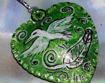 shamanic happiness chain heart bird pendant