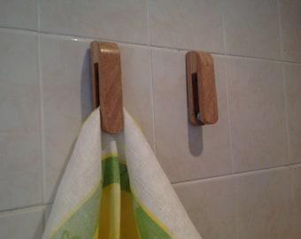 Solid oak Amish design towel holder, tea towel holder, magic marble towel holder, hand towel hook, towel hanger