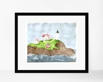 Nubble Lighthouse watercolor, 8x10, fine art print, lighthouse art, York, Maine, watercolor prints