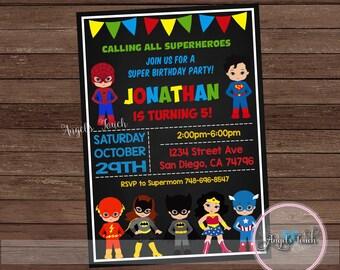Superhero Party Invitation, Superheroe Kids Birthday Invitation, Superheroes Party Invitation, Super Boys and Girls Invitation, Digital File