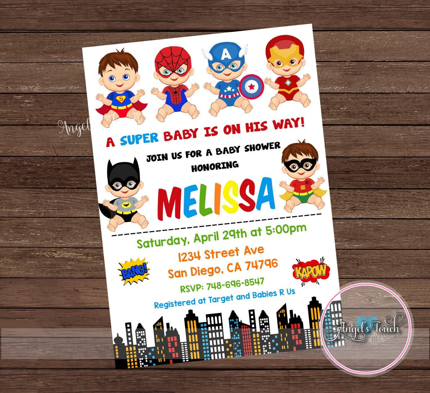 Super Hero Baby Shower Invitation, Superheroe Baby Shower Invitation ...