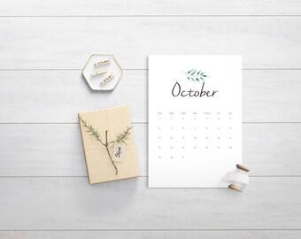 October Downloadable Calendar