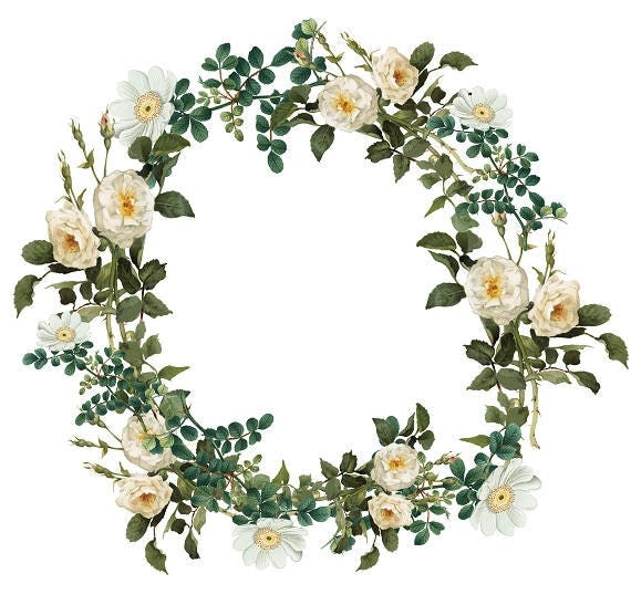 Vintage Roses Wreath Printable Clipart White Roses Download