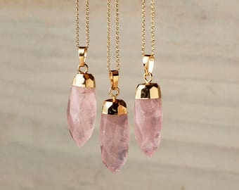 Crystal Point Pendulum Necklace Rose Quartz Necklace Crystal Necklace Raw Stone Necklace raw Crystal Layered Necklace gift teen Bullet