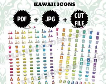 SALE 25% OFF/ Printable Kawaii Home icons/kawaii planner icons /kawaii icons printable stickers /functional stickers / icons / chores icons
