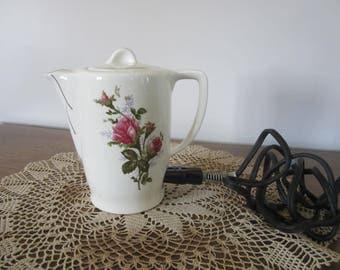 vintage ceramic hot pot, electric tea pot, college dorm, teapot for grandma, mothers day