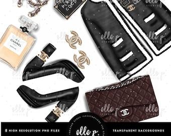 Miss Coco Chanel Themed Clipart Bundle by Elle P. Studio