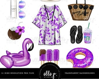 Pool Party Clipart Bundle / Summer Themed Clipart / Summer Clipart / Vacation Clipart / Fashion Clipart by Elle P. Studio
