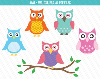 Owl SVG cutting files, Owl dxf, Owl vector, Cricut cutting files - SVG, dxf, ai, eps,pdf