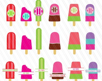 Ice Lolly, Ice cream svg, Popsicle, Ice pops, Monogram frames,split monogram, Ice cream clipart, Digital Download-Ai, Pdf, SVG, EPS, Dxf