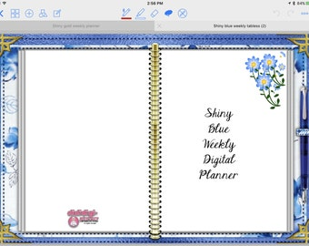 Shiny Blue Tabless Digital (Paperless) Planner