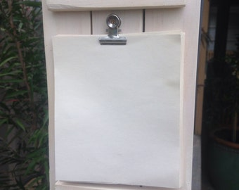 Rustic notepaper board, white-washed