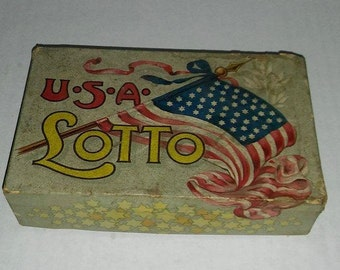 Vintage USA LOTTO Card Game With Wood Numbers, Cards and Original Box (1920's)