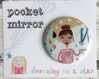 Pocket Mirror, Hand Mirror, Quirky Mirror, Party Favors, Makeup Mirror, Cute Gifts, Childs Gift, Childs Mirror, Pretty Gift, Birthday gift