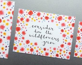 "Consider The Wildflowers Print // 5x7"" / 6x8"" / 8x10"" // Luke 12:27 Bible Verse Charity Print // Floral Watercolour Calligraphy Print"