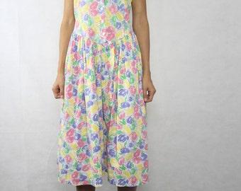 VINTAGE 80s Floral Sun Day Dress Size XS-S