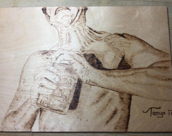 How Strong Are you ? Hand made using Pyrography wood burning art form made in the UK