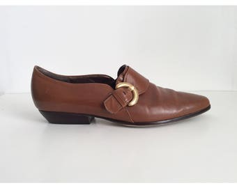 Vintage Oxford Shoes with Side Buckle, 90s Enzo Angiolini Oxford Shoes, Vintage Cognac Shoes