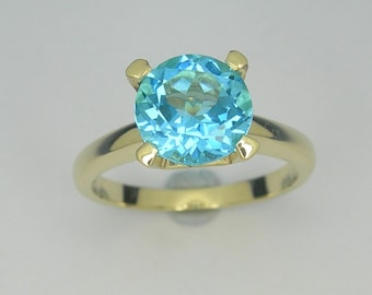 Blue topaz gold ring, Solitaire ring