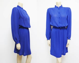 Free Global Shipping* 70s Designer Rodier Dress, UK8 Designer French Vintage Dress, Pleated, Knee Length Dress, Vintage Clothing