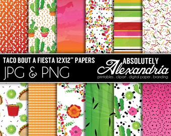 Taco Bout a Fiesta Digital Papers - Personal & Commercial Use - Summer Paper, Floral Mexican Graphics,  Patterns, Party Scrapbook Page Kit