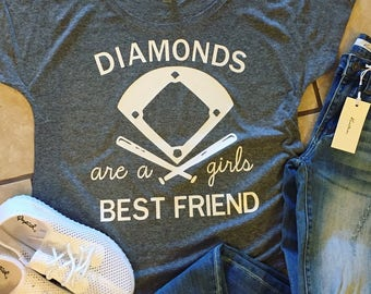 Diamonds Are A Girls Best Friend/ Baseball Slouchy Tee/ Slouchy Tee/ Gift For Her