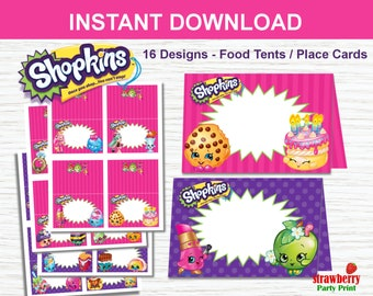 Shopkins Food Labels Tent Cards Place Printables