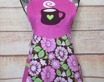 Cup of coffee apron, hostess kitchen apron, applique, unique, housewarming gift, craft apron, flower, lined, full apron, cleaning