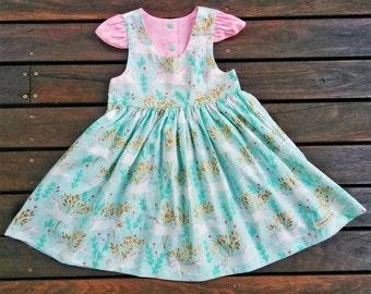 Girls unicorn Dress, Girls tea party dress, Unicorn dress, Girls dress, Flutter sleeve, unicorn forest dress, Unicorns, Tea party dress