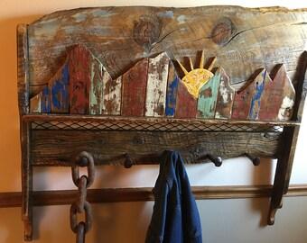 coat rack rustic barnwood