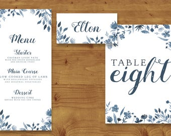 Dusky Blue Watercolour Floral Place Cards, Table Numbers, Menu Cards - Blue Wedding - Table Name - Name Card - Wedding Stationery